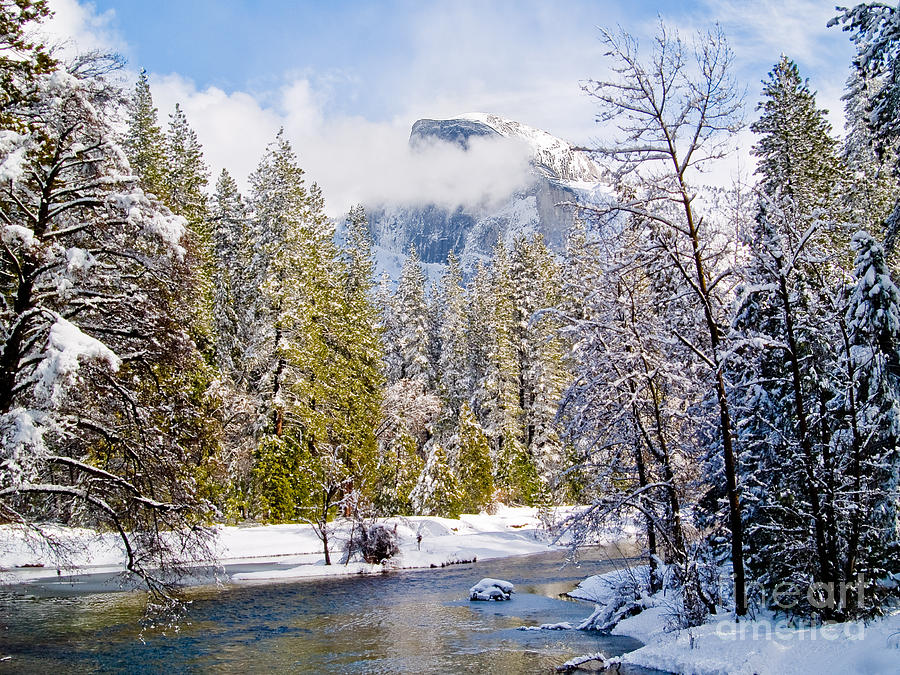 Half Dome And The Merced River Photograph