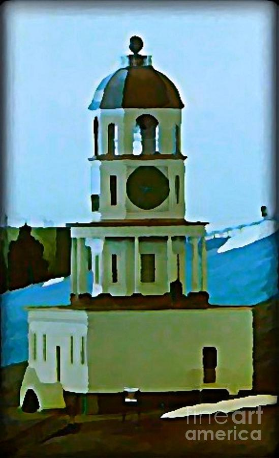 Halifax Town Clock In Winter Painting  - Halifax Town Clock In Winter Fine Art Print