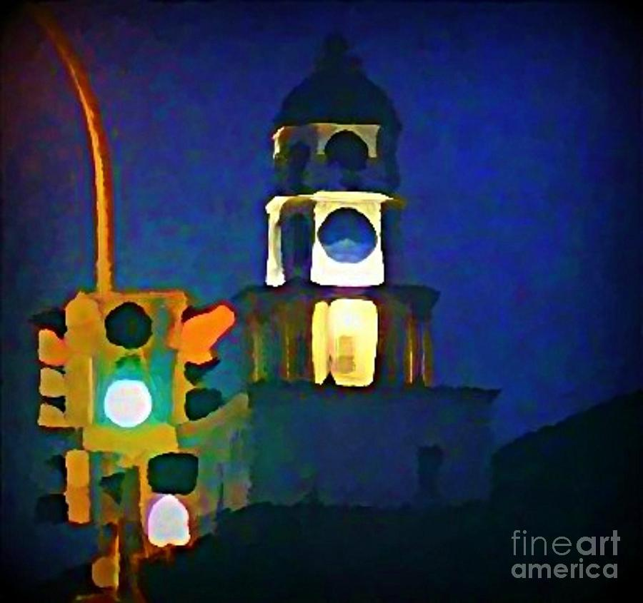 Halifax Traffic Lights And Town Clock Painting  - Halifax Traffic Lights And Town Clock Fine Art Print
