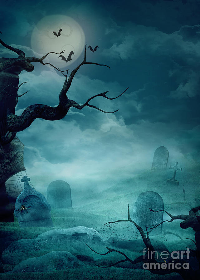 Advertising Photograph - Halloween Background - Spooky Graveyard by Mythja  Photography