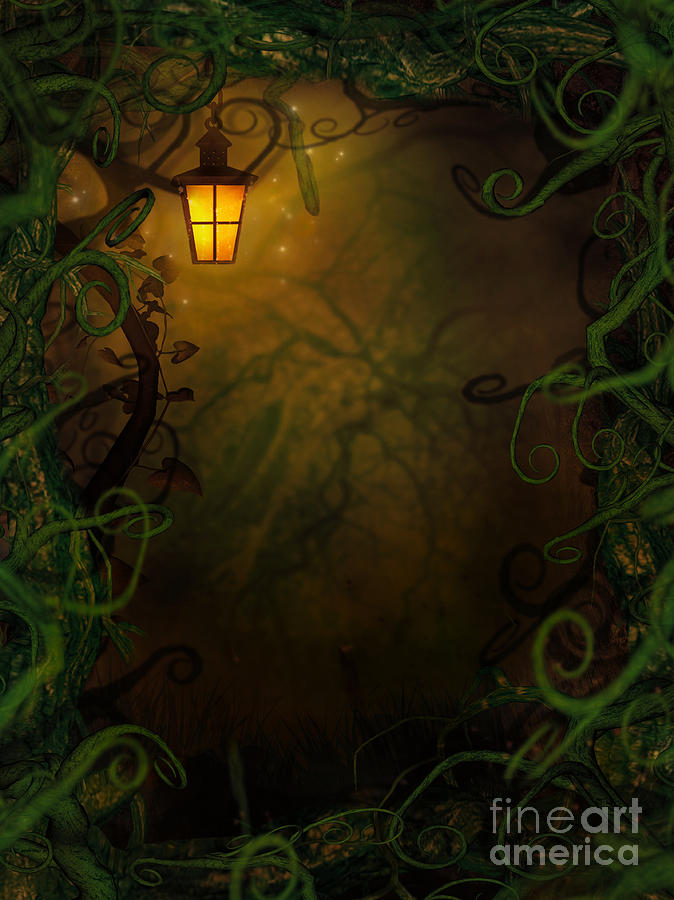 Halloween Background With Spooky Vines Digital Art