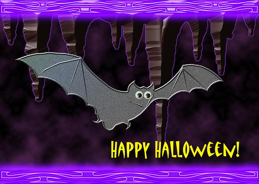 Cute Digital Art - Halloween Bat by Jeanette K
