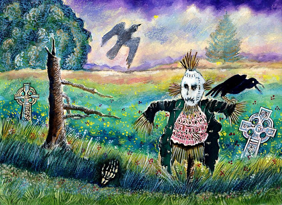 Halloween Field With Funny Scarecrow Skeleton Hand And Crows Painting