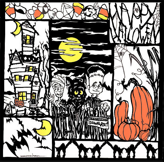 Halloween Papercut1 Tapestry - Textile