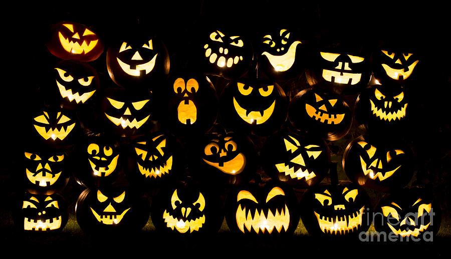 Halloween Pumpkin Faces Photograph