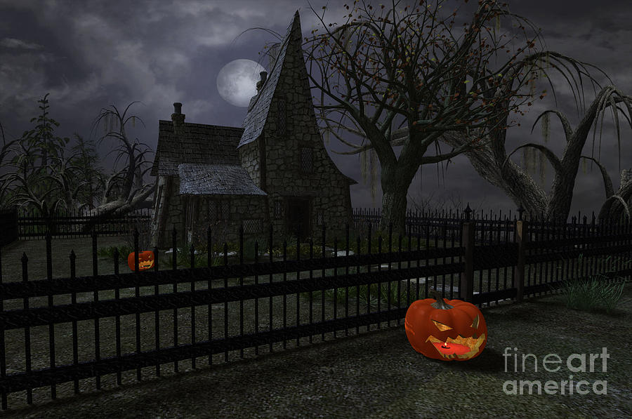 Halloween Witch House - 1 Digital Art  - Halloween Witch House - 1 Fine Art Print