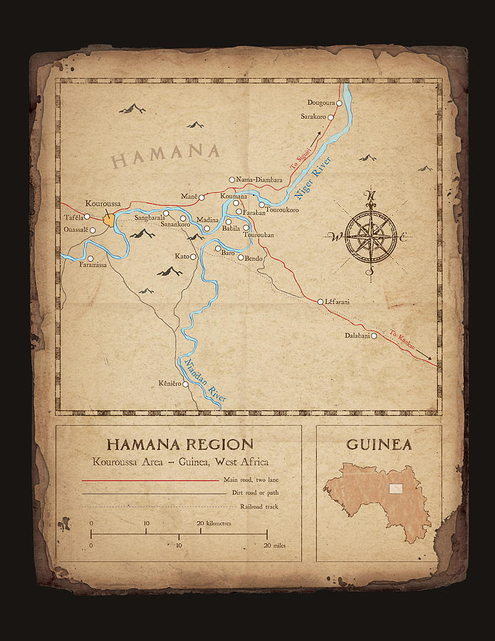 Hamana Region Map Digital Art