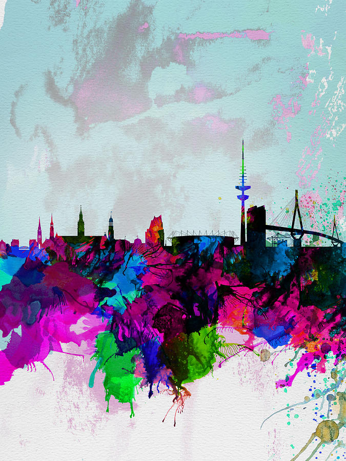 Hamburg Watercolor Skyline Painting