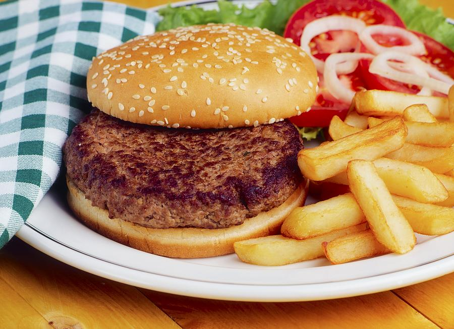 Bun Photograph - Hamburger & French Fries by The Irish Image Collection