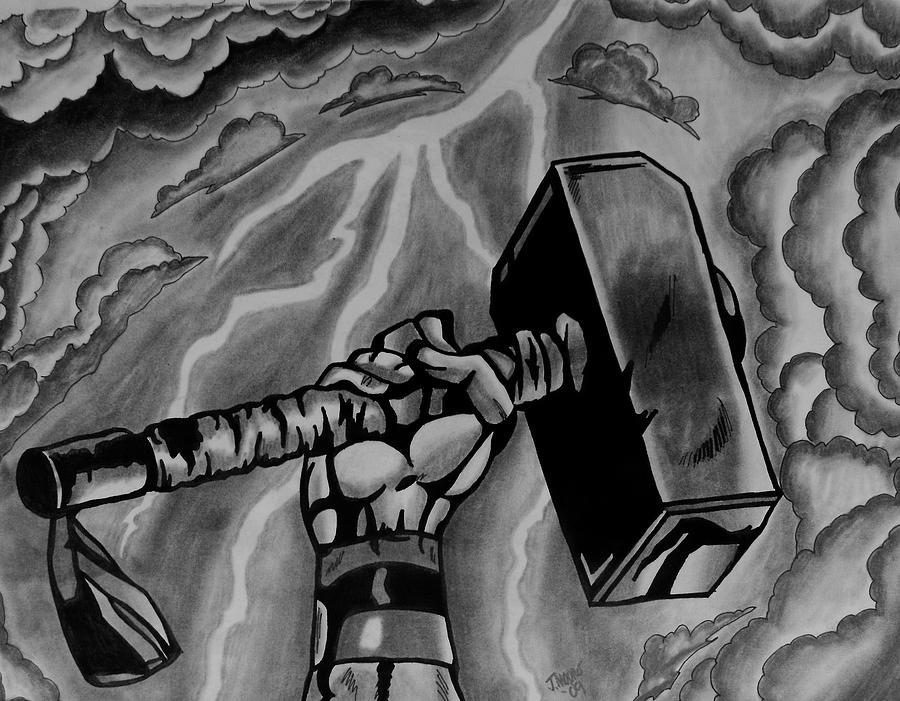 Thor Hammer God Of Thunder Mythology Comic Book Marvel Drawing - Hammer Of Thor by Jeremy Moore