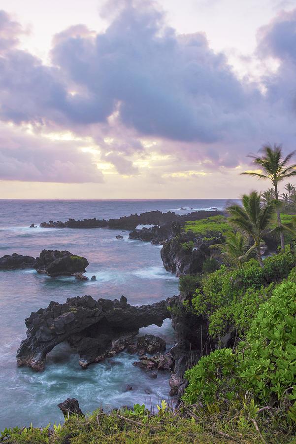 Road To Hana Lava Rock Sea Arches Sunrise Maui Hawaii Hi Seascape Photograph - Hana Arches Sunrise 3 - Maui Hawaii by Brian Harig