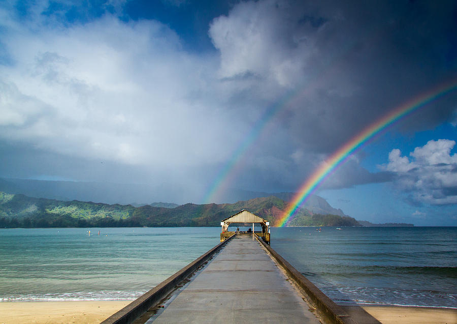Hanalei Bay Pier And Double Rainbow Photograph By Roger