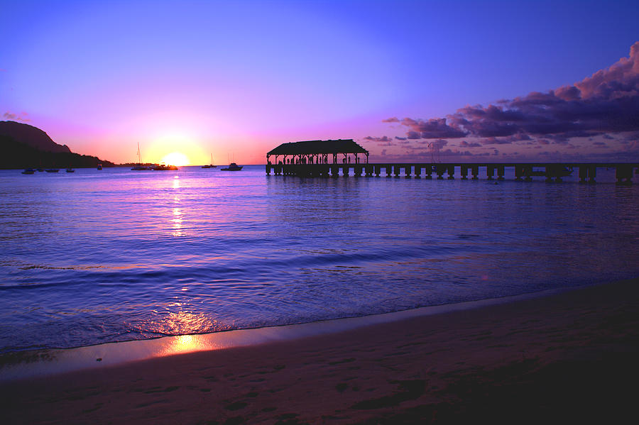 Hanalei Bay Pier Sunset Seascape Kauai Hawaii Photograph - Hanalei Bay Pier Sunset by Brian Harig