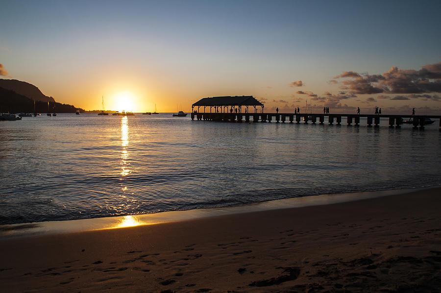 Hanalei Bay Pier Sunset Seascape Kauai Hawaii Hi Photograph - Hanalei Bay Sunset by Brian Harig