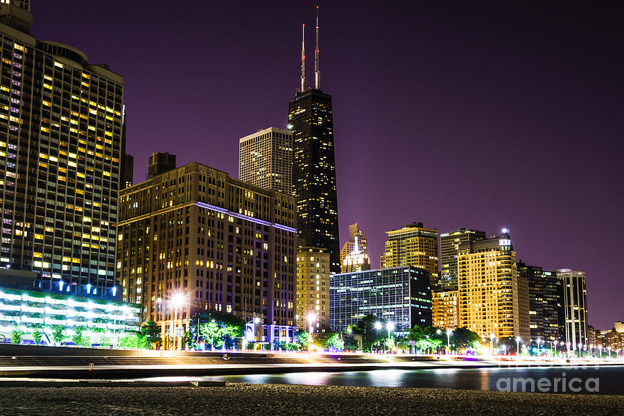 Hancock Building With Dusk Chicago Skyline Photograph  - Hancock Building With Dusk Chicago Skyline Fine Art Print
