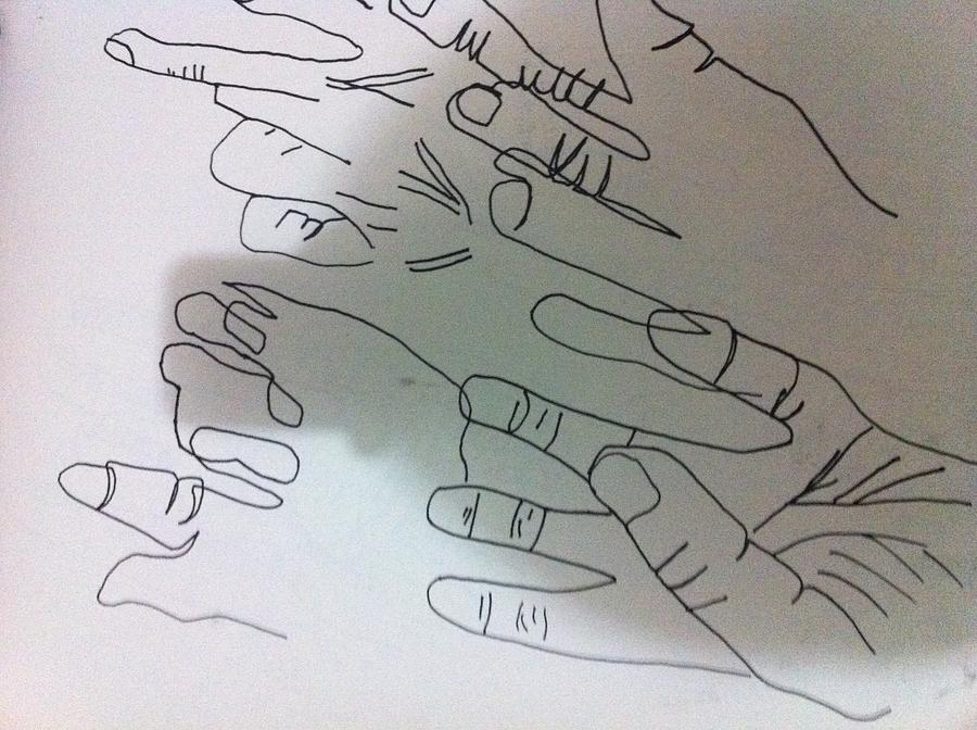 Black Marker Drawing - Hand Contour by Khoa Luu