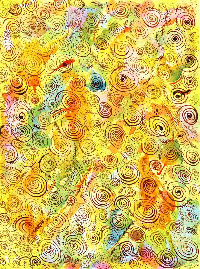 Hand-drawn Abstract Background With Spirals On Yellow Green Pink Painting  - Hand-drawn Abstract Background With Spirals On Yellow Green Pink Fine Art Print