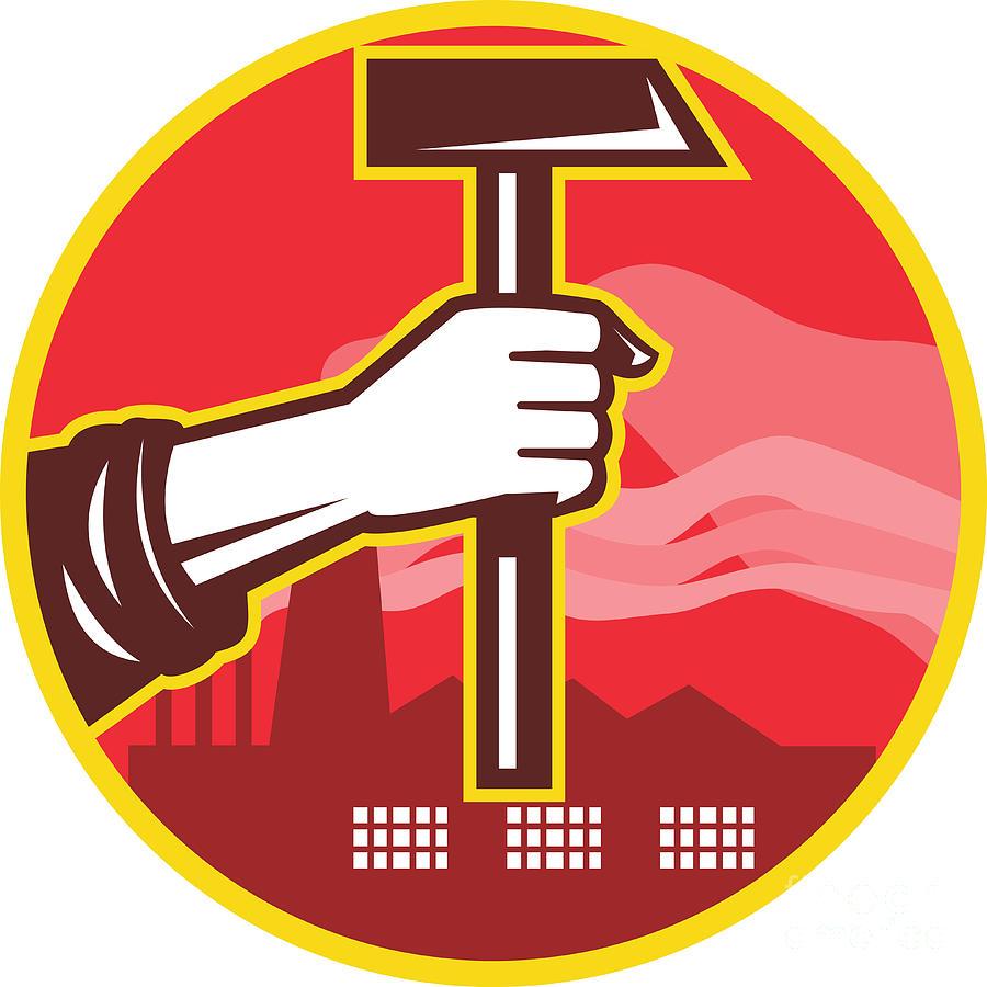 Hand Holding Hammer Factory Retro Digital Art