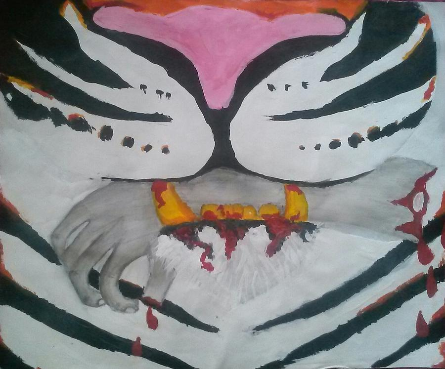 Tiger Mouth Mixed Media - Hand In Mouth by Kendya Battle