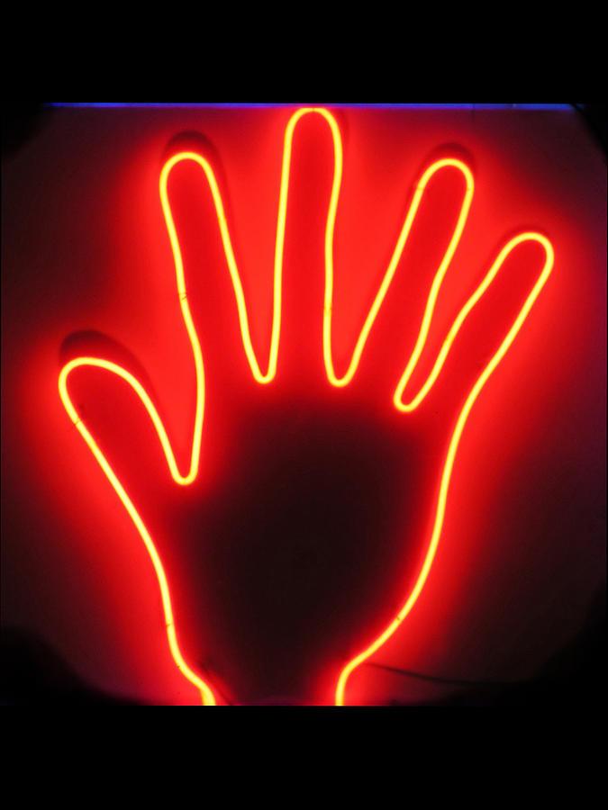 Hand Neon Sign Photograph