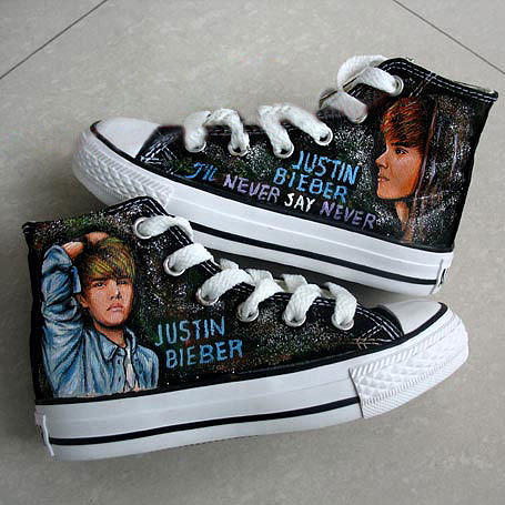 Justin Bieber Painting - Hand Painted Justin Biebers Albums Themed High-top Shoes- Three by Jojo Mo