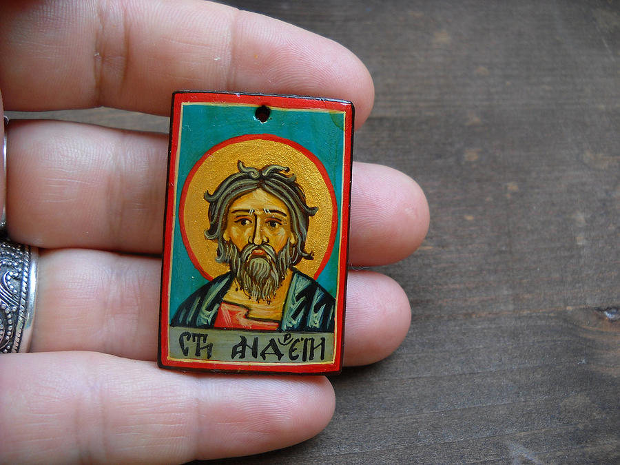 Hand Painted Miniature Icon Of Saint Andrew The Apostle Painting