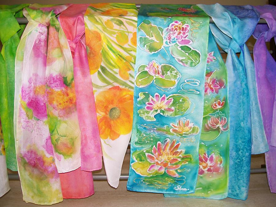 painted silk scarves painting by shan ungar