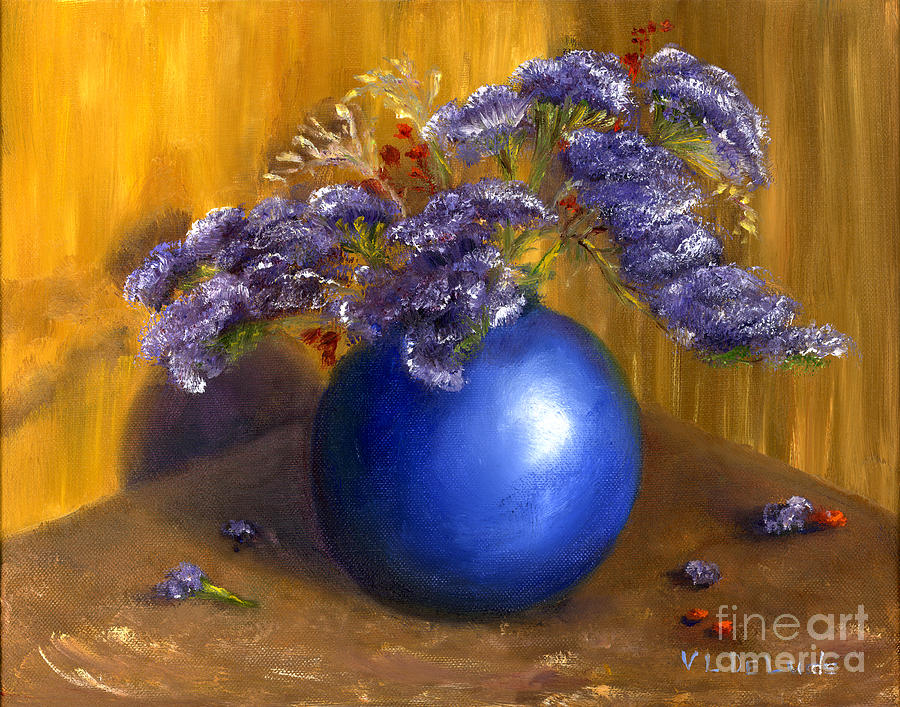 Hand Painted Still Life Blue Vase Purple Flowers Painting  - Hand Painted Still Life Blue Vase Purple Flowers Fine Art Print