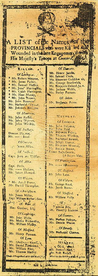 Handbill: Casualties, 1775 Photograph