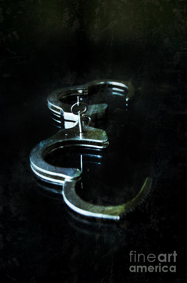 Handcuffs On Black Photograph  - Handcuffs On Black Fine Art Print