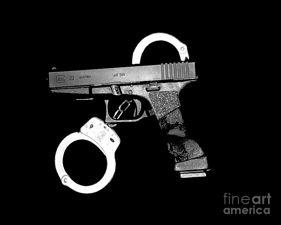 Handgun And Handcuffs Photograph  - Handgun And Handcuffs Fine Art Print