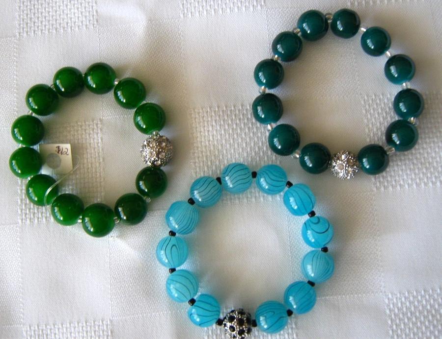 Original Handmade Bracelets In Jade Green Jewelry - Handmade Bracelets With Rhinestone by Fatima Pardhan