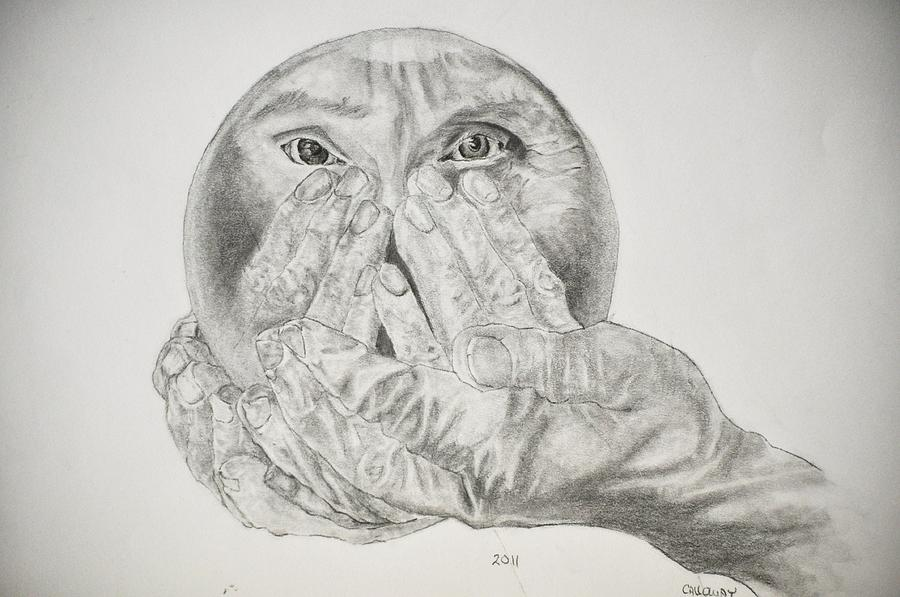 Hands Drawing - Hands Holding Cristal Ball by Glenn Calloway