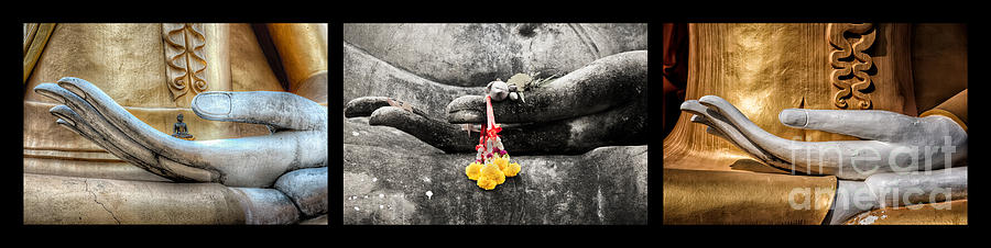 Hdr Photograph - Hands Of Buddha by Adrian Evans