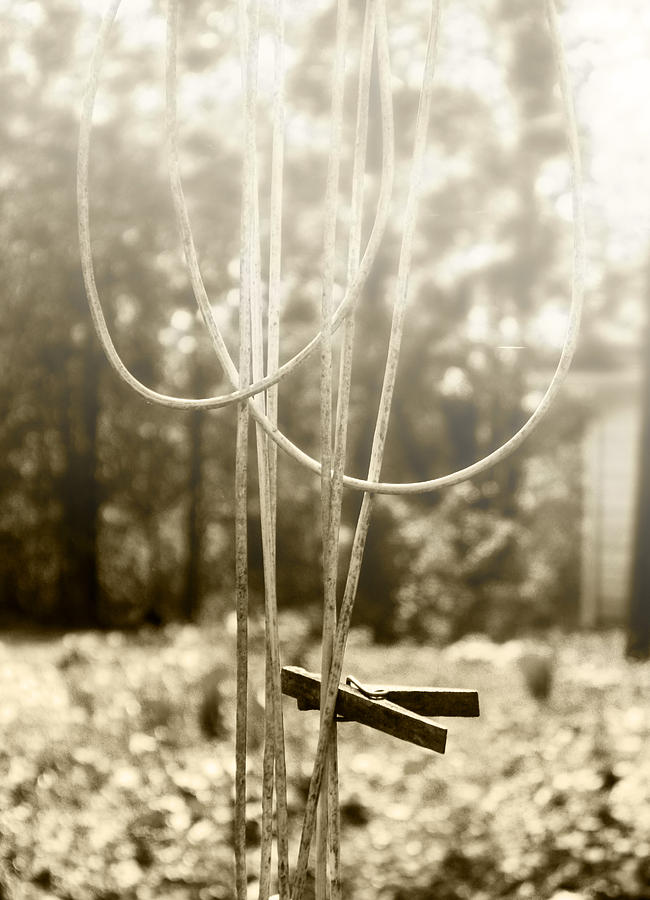 Old Clothes Line Photograph - Hang It Up by Kristie  Bonnewell
