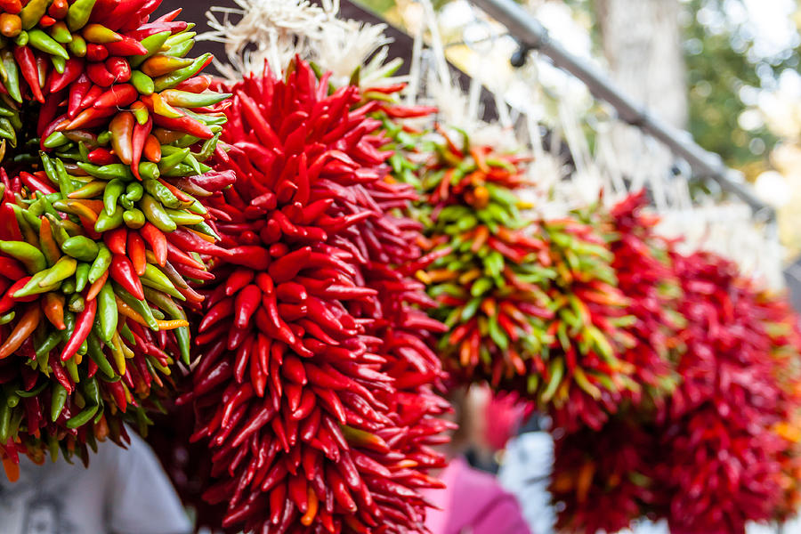 Hanging Chili Pepper Ristras At Farmers Market Photograph