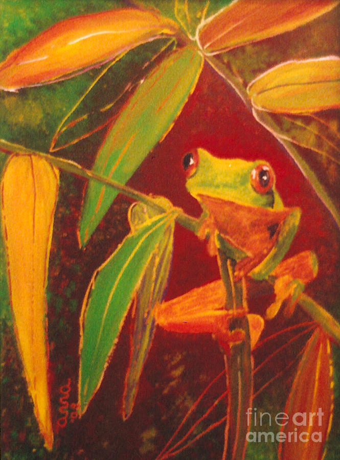 Frog Painting - Hanging In There by Anna Skaradzinska