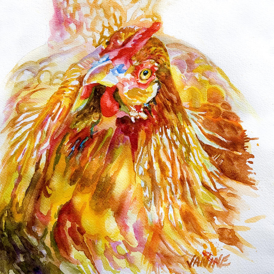 Hannah Chicken Painting  - Hannah Chicken Fine Art Print