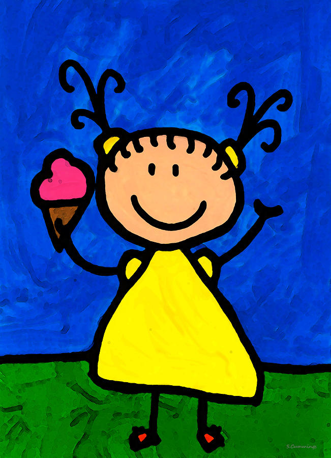 Happi Arte 3 - Little Girl Ice Cream Cone Art Painting  - Happi Arte 3 - Little Girl Ice Cream Cone Art Fine Art Print