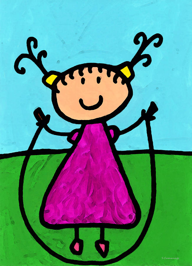 Happi Arte 7 - Girl On Jump Rope Art Painting