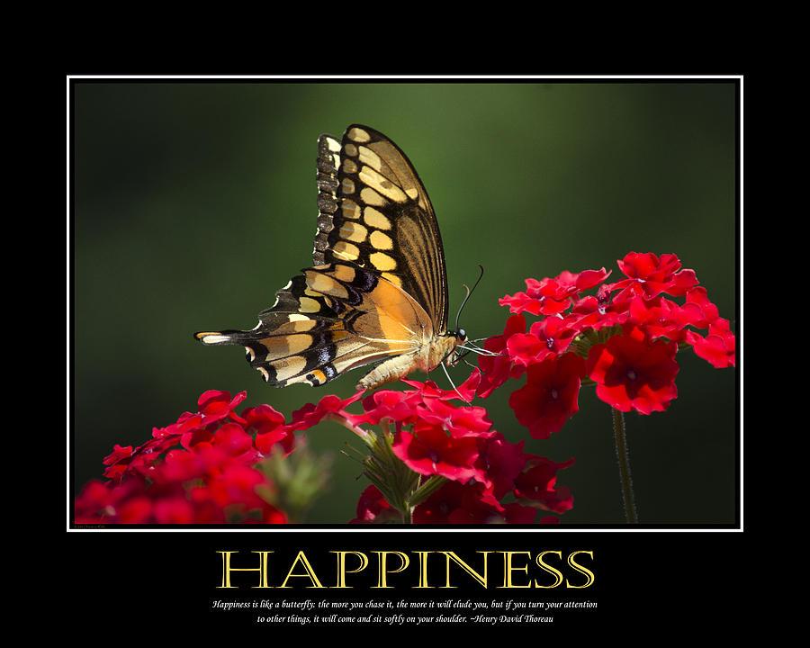 Happiness Inspirational Poster Art Digital Art