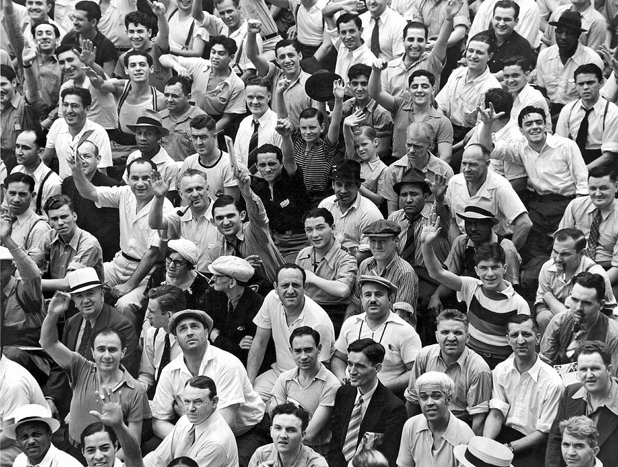 Happy Baseball Fans In The Bleachers At Yankee Stadium. Photograph  - Happy Baseball Fans In The Bleachers At Yankee Stadium. Fine Art Print