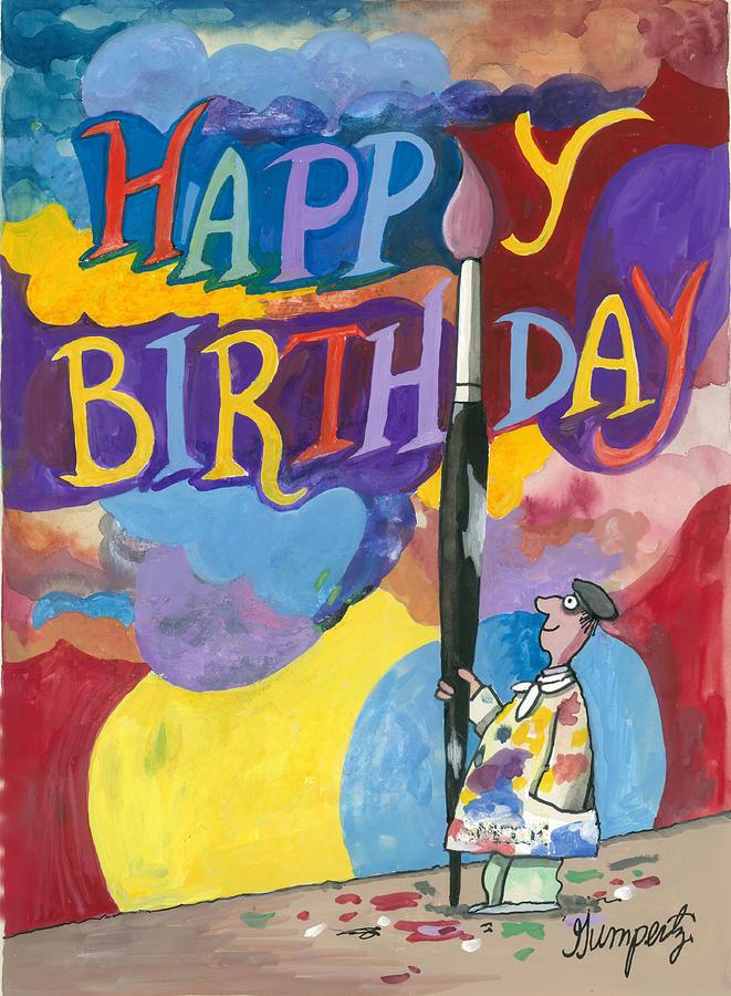 Happy Birthday With Paint Brush