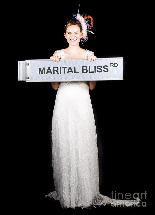 Happy Bride On The Road To Marital Bliss Photograph