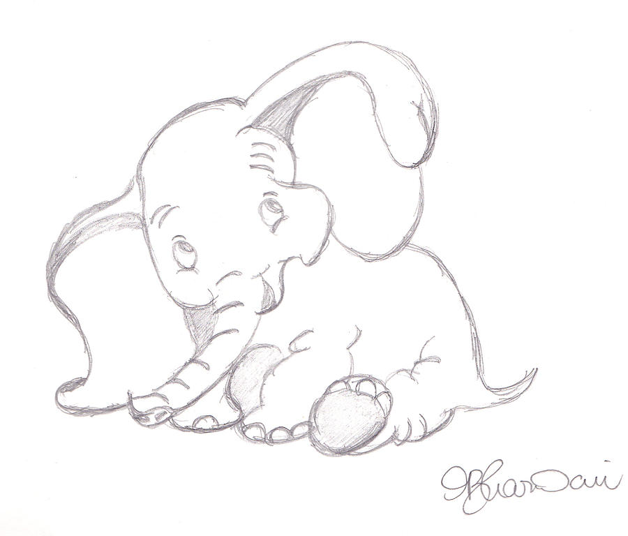 Happy Dumbo Drawing By Melissa Vijay Bharwani