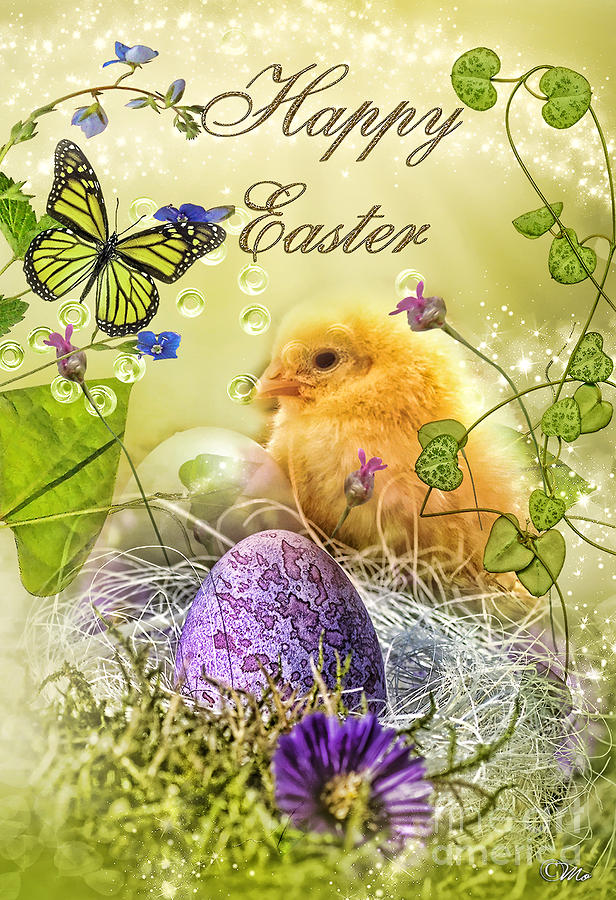 Happy Easter Digital Art  - Happy Easter Fine Art Print