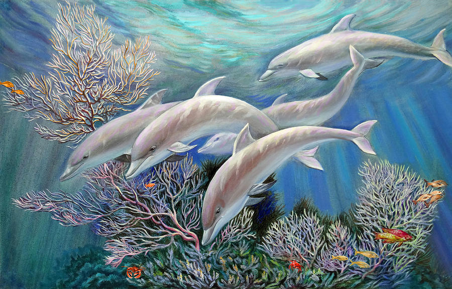 Happy Family. Dolphins Are Awesome Painting  - Happy Family. Dolphins Are Awesome Fine Art Print