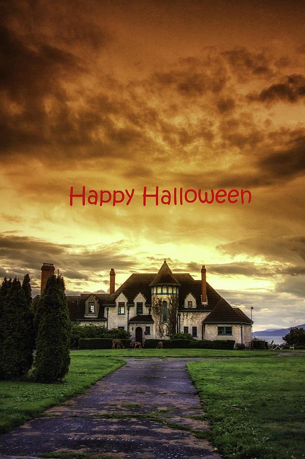 Happy Halloween Fiery Castle Photograph