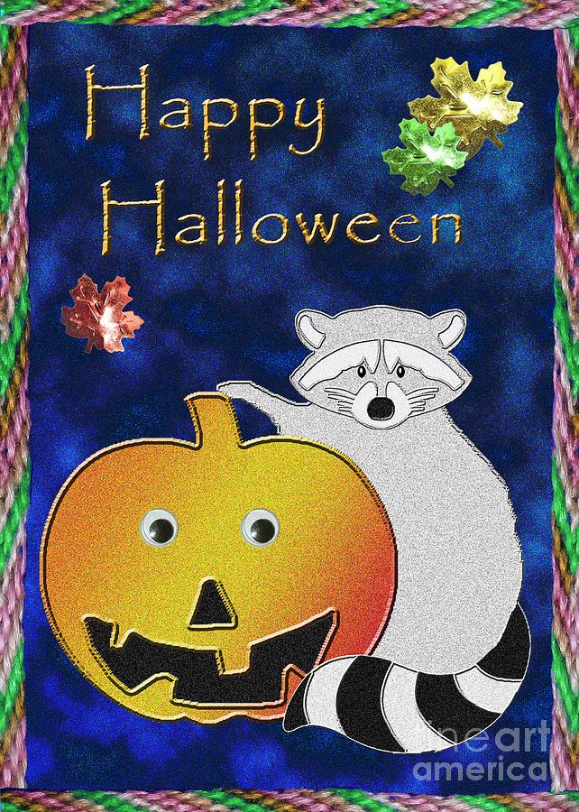Happy Halloween Digital Art - Happy Halloween Raccoon by Jeanette K