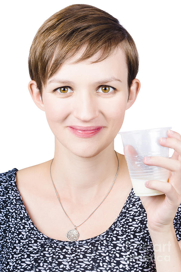 Happy Healthy Woman With Fresh Milk Photograph